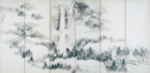 那智山・熊野橋柱巖図屏風(右隻)
