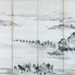 那智山・熊野橋柱巖図屏風(左隻)