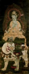 絹本著色釈迦三尊像 普賢菩薩坐像
