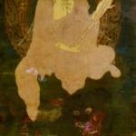 絹本著色釈迦三尊像 文殊菩薩坐像