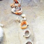 茶臼山古墳 外堤の円筒埴輪列