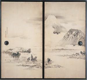 富岳図・山水図襖(第7・8面)