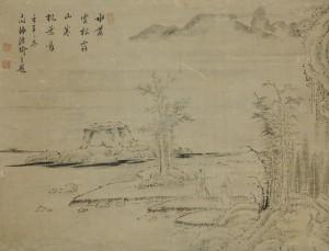 祇園南海「冬景山水図」
